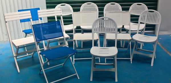 PVC chairs, Wooden chairs, Metal chairs -